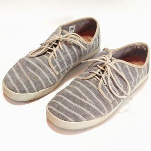 Toms grey striped sneakers deck shoes 10